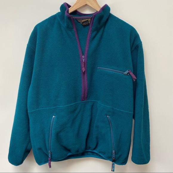 Vintage Eddie Bauer Teal Fleece Pullover Small